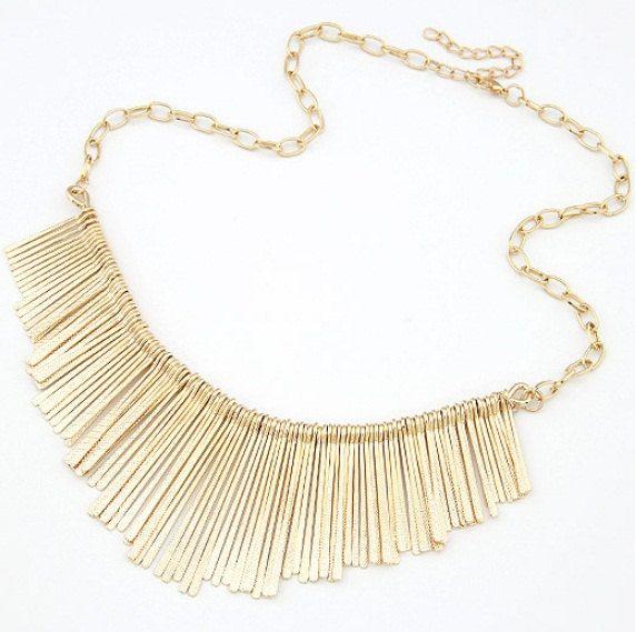 Gold fringe necklace, gold statement necklace, gold wedding necklace, statement necklace, bib necklace. $12.50, via Etsy.