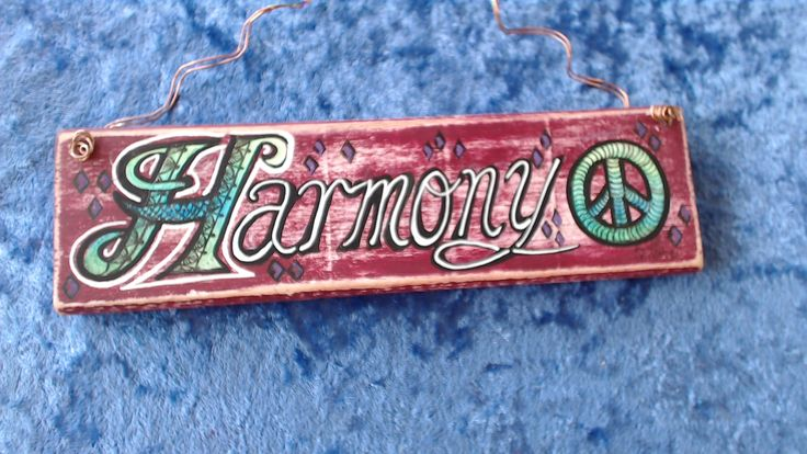 """""""HARMONY"""" Peace Plaque..$12 ☮..18.5cm x 5.5cm with twisted Copper wire hanger. Available at www.etsy.com/shop/pohcreations"""