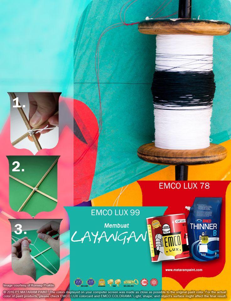 Kawan EMCO, di musim berangin seperti ini, ayo kita bermain layangan! Yuk, kita buat sendiri layangan kita! Bahan-bahannya: •1 potong bambu tipis, lebar +/- 1 cm dan panjang +/- 80 cm dan +/- 40 cm •Kertas tissue atau kertas minyak dengan ukuran sesuai dengan ukuran bambu •Spidol, gunting, isolasi dan meteran •Tali atau benang berikut penggulungnya (bisa menggunakan sisa potongan bambu)  Caranya: •Letakkan kedua bambu secara menyilang dengan titik pertemuan pada 1/3 dari bambu yang…