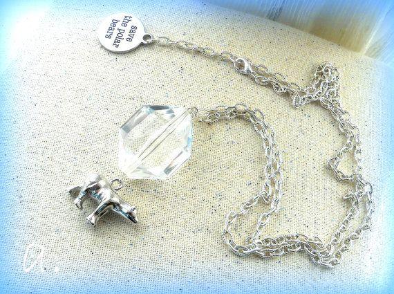 SAVE POLAR BEARS.Necklace Polar Bear. Necklace by EarringsandJoy