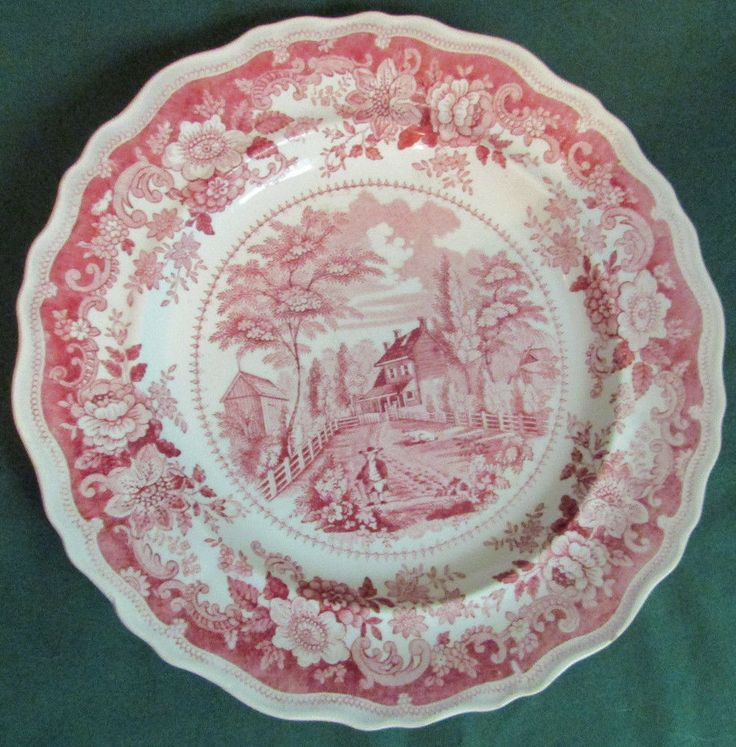 Antique Staffordshire Richard Jordan Residence NJ Red Transferware Plate 1830's