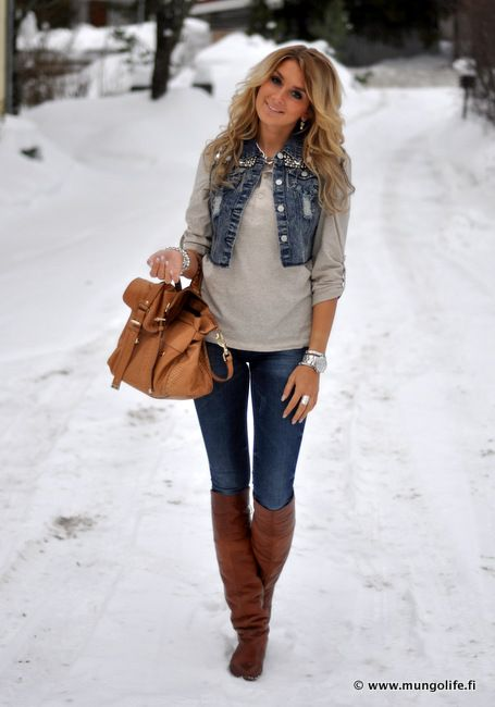 Denim vest brown boots and purse - I think the tiny jean jacket is a little silly. A little ...