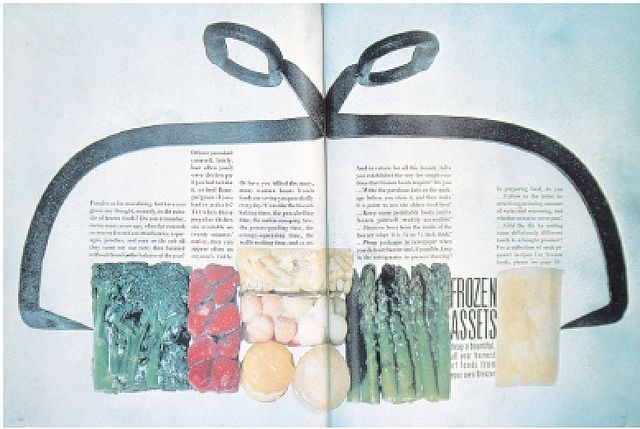 Otto Storch (diretor de arte) e Paul Dome (fotógrafo), páginas da McCall's, 1961. Páginas introdutórias para um tema sobre alimentos congelados unificam tipografia e fotografia numa estrutura coesa.