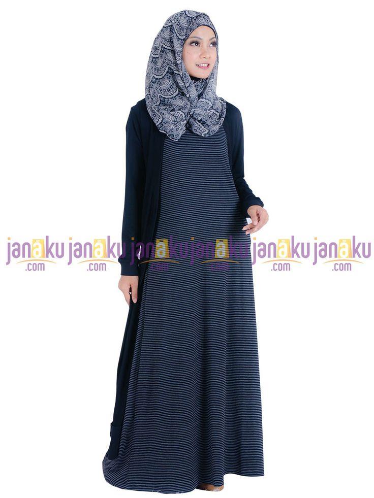 Vannara 1113322 - Busana muslim gamis tanpa lengan motif garis dengan bahan kaos yang nyaman di pakai
