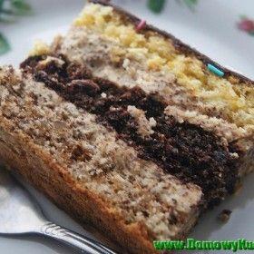 ciasto trojkolorowe z masa orzechowa