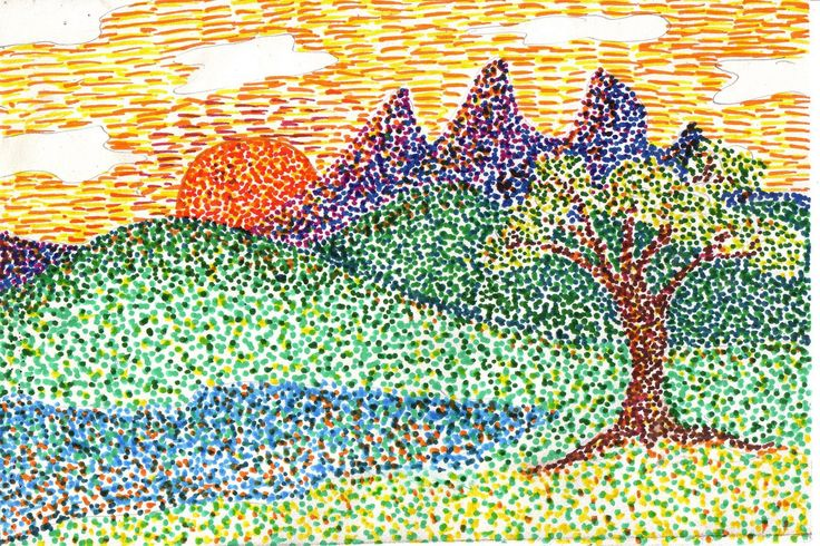 Here is my pointillism example for second grade.  Have a great weekend everyone.  :-P