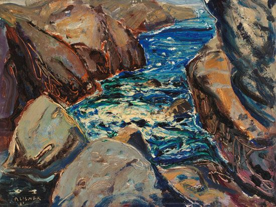 Arthur Lismer - Rocks and High Water Pacific Coast 12 x 16 Oil on board sold at Heffel online auction for $14000 October 2016