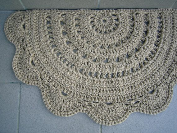 Deurmat halve cirkel gehaakte jute deur tapijt door CrochetFolkArt