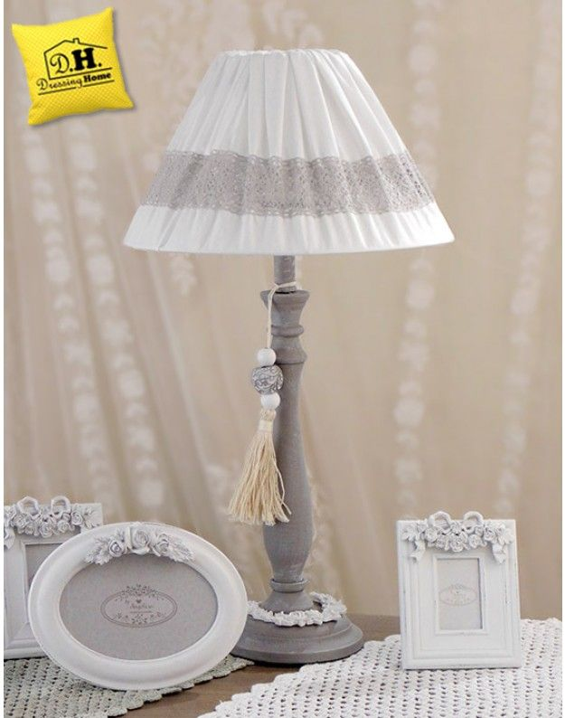 Lampada Shabby Chic Angelica Home & Country Pizzo e Nappa