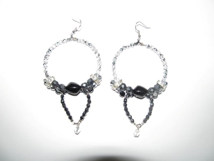 Handmade earrings (1 pair)  Made with glass beads, metals with crystals and antiallergic hangings.