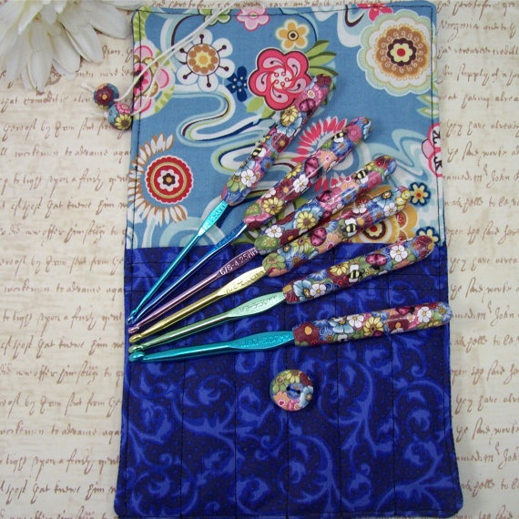 =D Crochet Hook Case with Set of Boye Crochet Hooks, Handmade with Polymer Clay. $58.00, via Etsy.