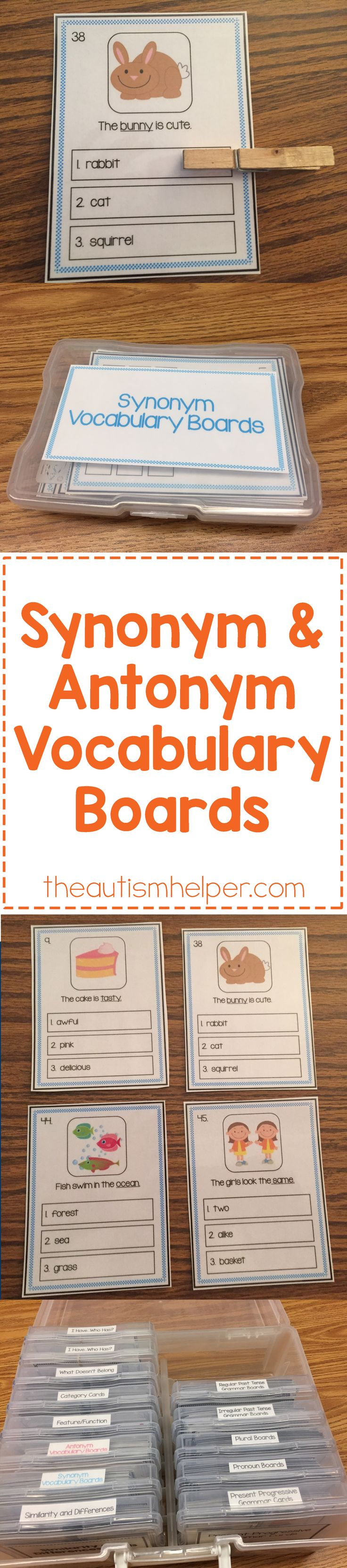Build up your students' vocabulary skills with our Synonym & Antonyms Vocabulary Boards! The set contains 48 boards each PLUS we're sharing how Sarah uses them in speech therapy on the blog!! From theautismhelper.com #theautismhelper