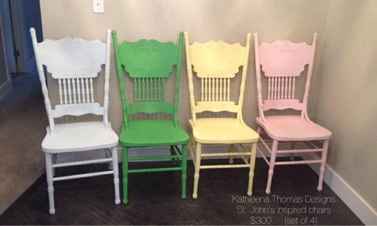 4 Colorful country painted chairs inspired by Republic of Doyle TV kitchen set  $300