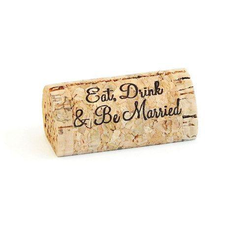 Eat Drink & Be Married, Custom Wine Cork Place Card Holders - CorkeyCreations.com