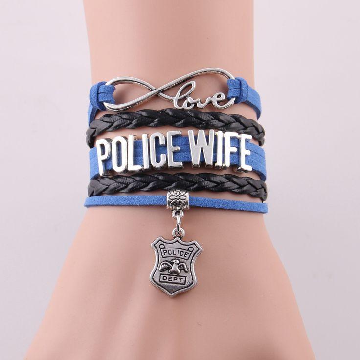 Бесконечность Любовь подарок для Полиции Жена полицейского отдела полиции шарм браслеты & браслеты для любителей семьи подарок падение по магазинам