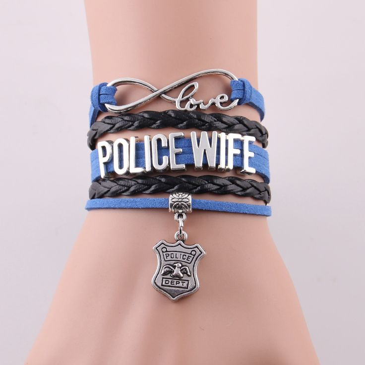 Infinity Love gift for Police Wife police officer police dept charm bracelets & bangles for family lovers gift drop shopping