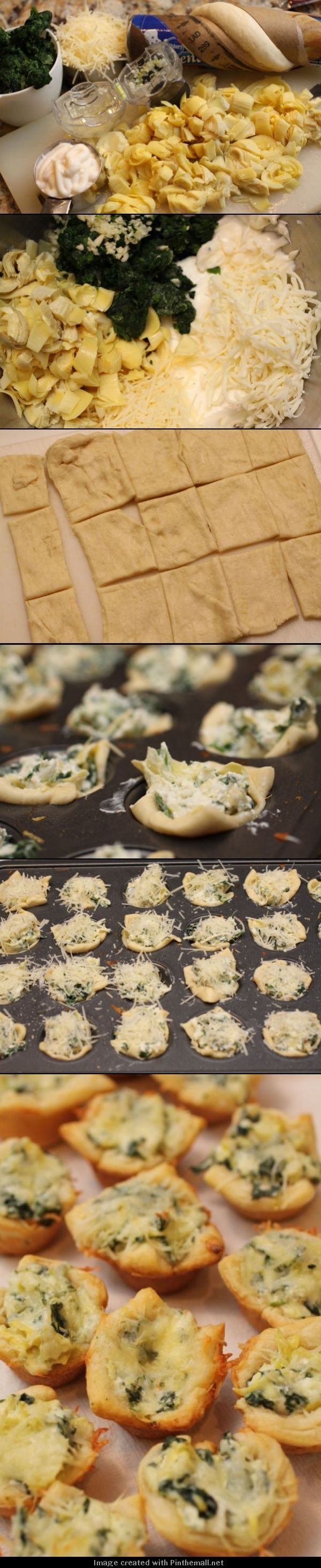 Artichoke Bites - you could make these even faster by using wonton wrappers in your mini muffin pan!
