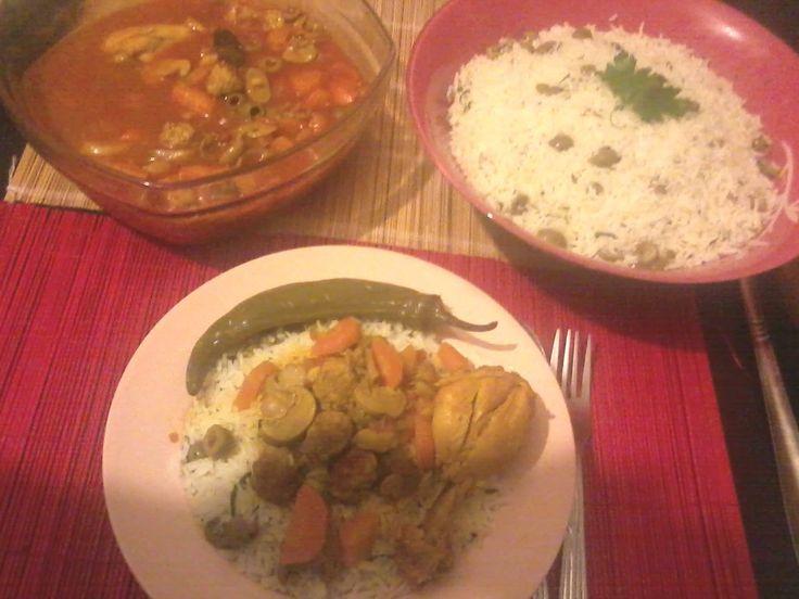 Hiba Kadi Concours code couscoussier Recette de riz à la vapeur avec sa sauce rouge au poulet et olives Ingrédients : Riz Beurre 1 petit bouquet de persil