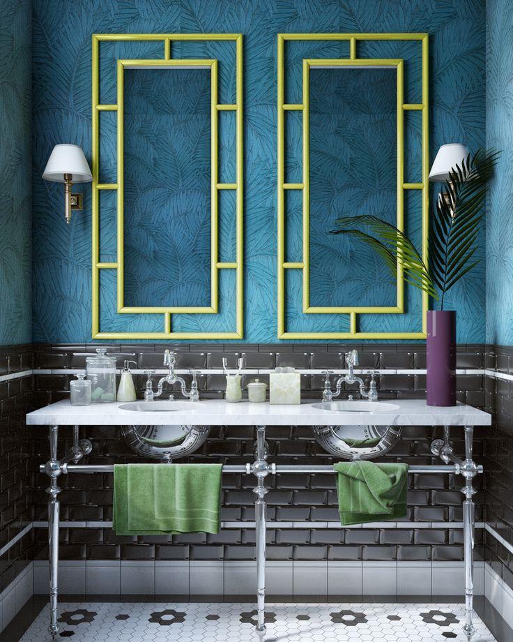 Shades of blue - Обои в современном интерьере   PINWIN - конкурсы для архитекторов, дизайнеров, декораторов