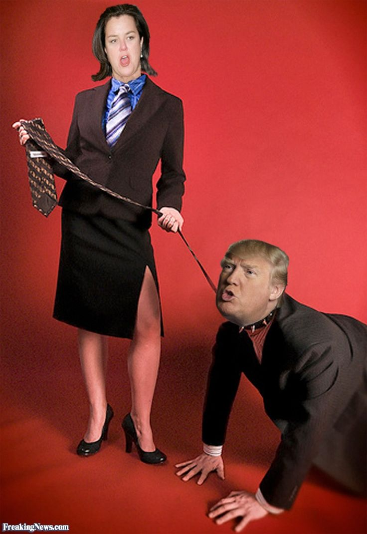 Rosie O'Donnel with Donald Trump on a Leash