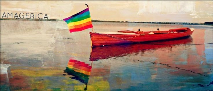 Amager Beach wooden rower´s boat with Pride flag