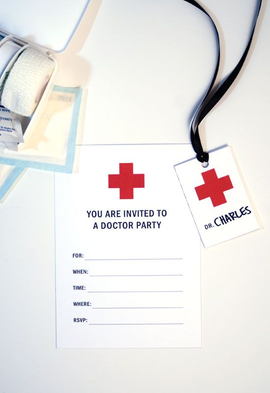 Doctor Party Invitations, badges, banner and game on onecharmingparty.com #doctorparty #kidsparties