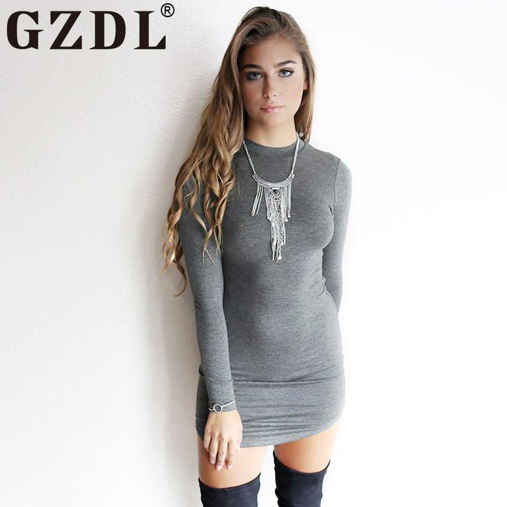 New Spring 2017  Dark Gray Long Sleeve Night Club  Bodycon Stretch Slim Mini Dress //Price: $20.10 & FREE Shipping //     #hashtag2