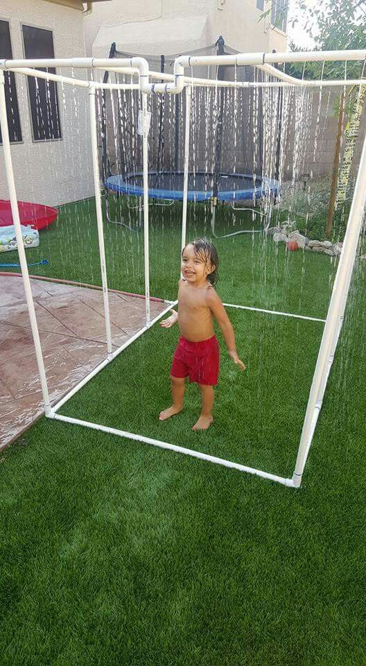 Homemade water sprinkler, waterfall for kids