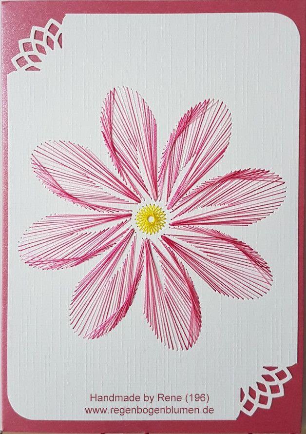 Fadengrafik Grußkarten Set 196 Blumen