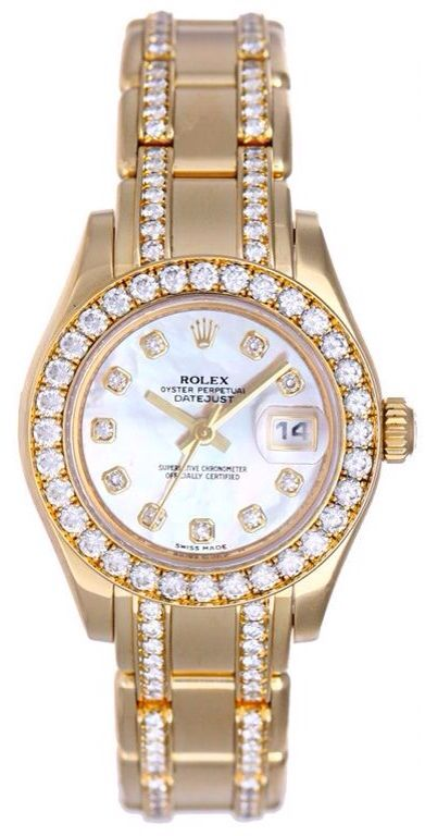 Rolex Masterpiece Mother Of Pearl Diamond Dial And Bezel Diamond Pearl Master 18k Yellow Gold Bracelet Ladies Watch