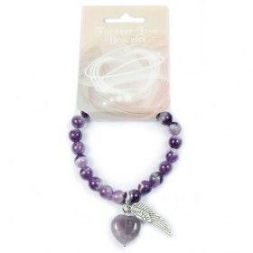 Gemstone Forever Love Bracelet - Amethyst | Hip Angels  Take a look at these new 8mm wholesale gemstone bead bracelets with gemstone heart and metal angel wing charms.   The pendant has an adjustable metal lobster clasp fitting.    This type of gemstone jewellery has a heart for love and an angel's wing for protection.  #Wholesaler_Bracelets  #Bracelets_Wholesale #Bracelets_Wholesaler #Leather_Bracelets #Hip_Angels_Wholesaler