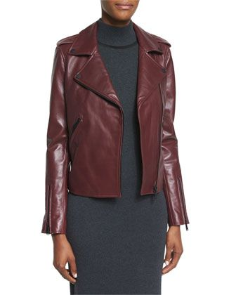 New+Leather+Moto+Jacket+w/+Black+Hardware+by+Badgley+Mischka+at+Neiman+Marcus.