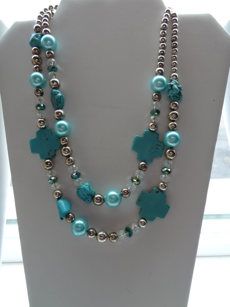 Turquoise, Crystal and Pearl necklace by: Rodeo Mom