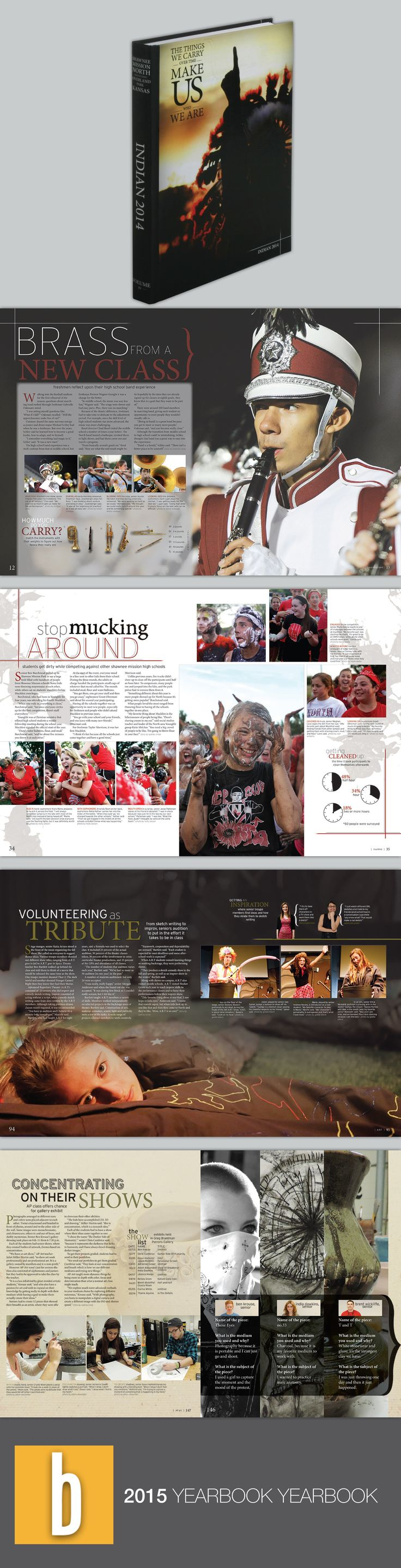 The things we carry are the things that make us who we are. Yearbook theme idea and page layout