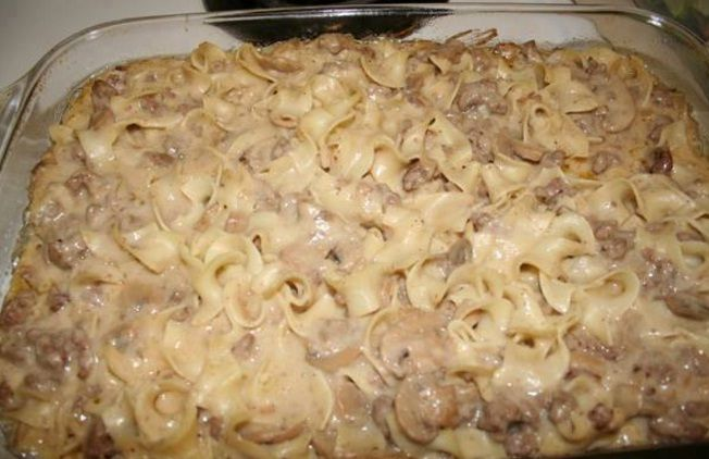 1 can Cream Of Mushroom Soup  1 can Cream Of Chicken Soup 8 oz sour cream  12 oz uncooked egg noodles  1 pound ground beef...