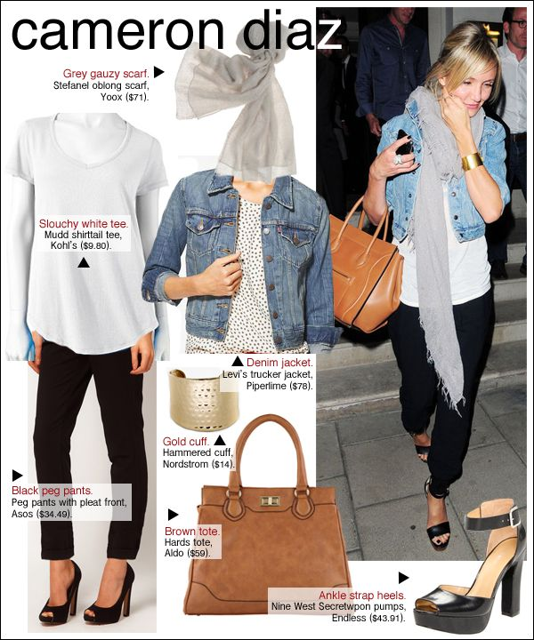 cameron diaz london, cameron diaz style, cameron diaz book casual chic fashion. Travel comfortably and in style. Denim on white and the black crop pants and a basic stole wrapped around for a much needed warmth. Like the look.
