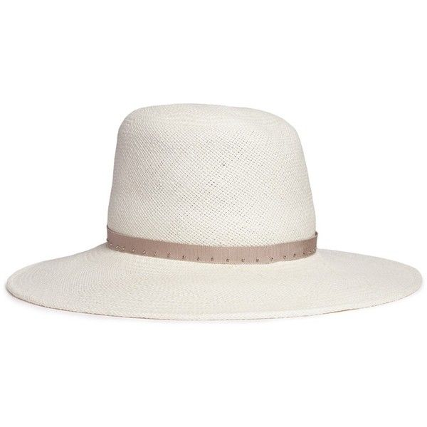 Gigi Burris Millinery 'Drake' feather stud straw fedora hat (26.195 RUB) ❤ liked on Polyvore featuring accessories, hats, white, fedora hat, straw hat, white hat, studded hat and white feather hat