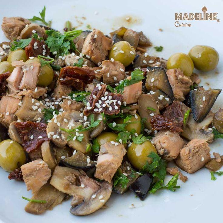 Stir-fry de somon cu vinete si ciuperci / Salmon, eggplant and mushroom stir-fry
