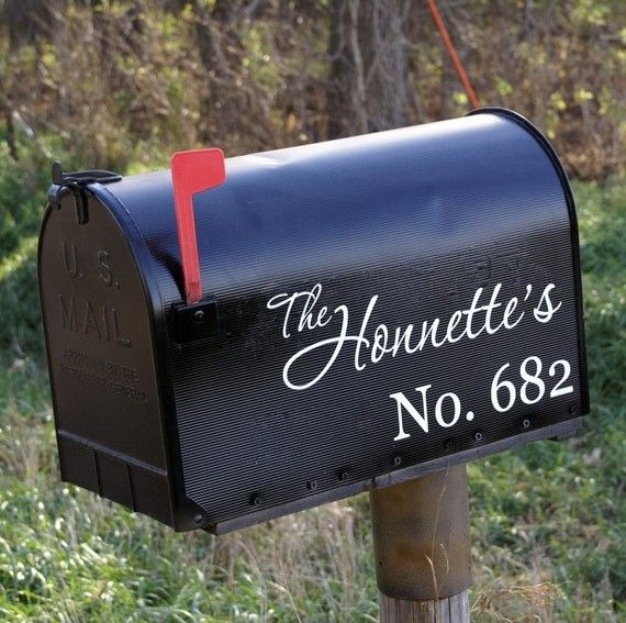LARGE mailbox - TWO SIDES - Casual Monogram Mailbox Address Vinyl Decal on Etsy, $20.00