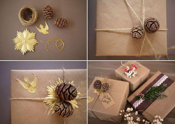 Упаковка подарков оберточной бумагой и бечевкой
