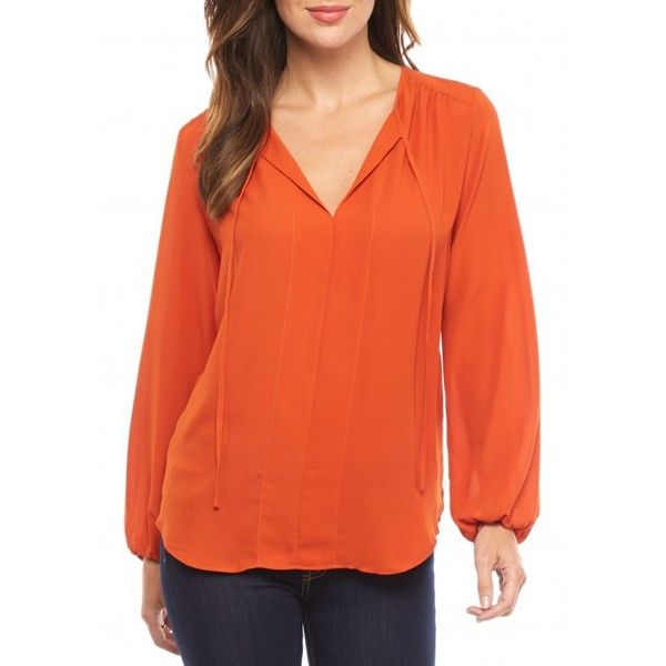 Joan Vass New York Burnt Orange Keyhole Tie Neck Blouse - Women's ($35) ❤ liked on Polyvore featuring tops, blouses, burnt orange, neck tie blouse, neck-tie, long neckties, orange blouse and neck ties