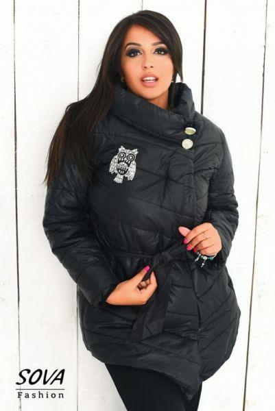 Куртка женская на синтепоне большой размер под пояс черная