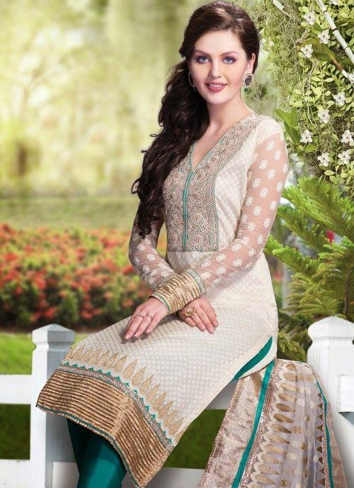 Classy Off White Banarsi Silk & Cotton #Salwar Kameez #salwarkameez #pakistanisalwarkameez #womenapparel #ethnicwear
