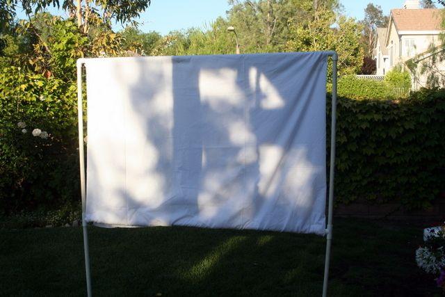 diy backyard movie screen summer fun party pinterest. Black Bedroom Furniture Sets. Home Design Ideas