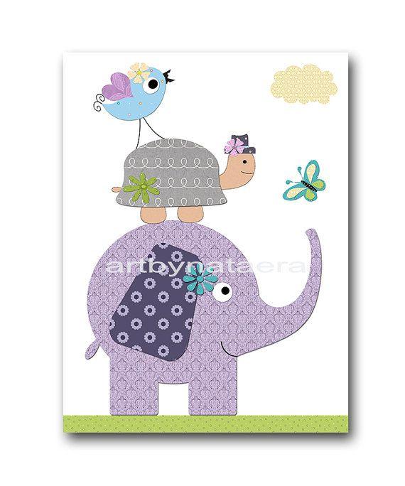 Elefante infantil tortuga infantil niños pared arte bebé vivero Decor bebé niño guardería niños bebé sala Decor vivero lámina pájaros violeta para niños imprimir bebé regalo   SIN MARCO - ESTA IMPRESIÓN ES EN PAPEL, O SOBRE LIENZO O EN PAPEL DE PEGATINA *** 1637Z1  Para volver a mi tienda, haz clic aquí: http://www.etsy.com/shop/artbynataera  Hay un borde extra 1/8 pulgadas blanco alrededor de la impresión para facilitar el encuadre. IMPORTANTE: Se trata de una impres...