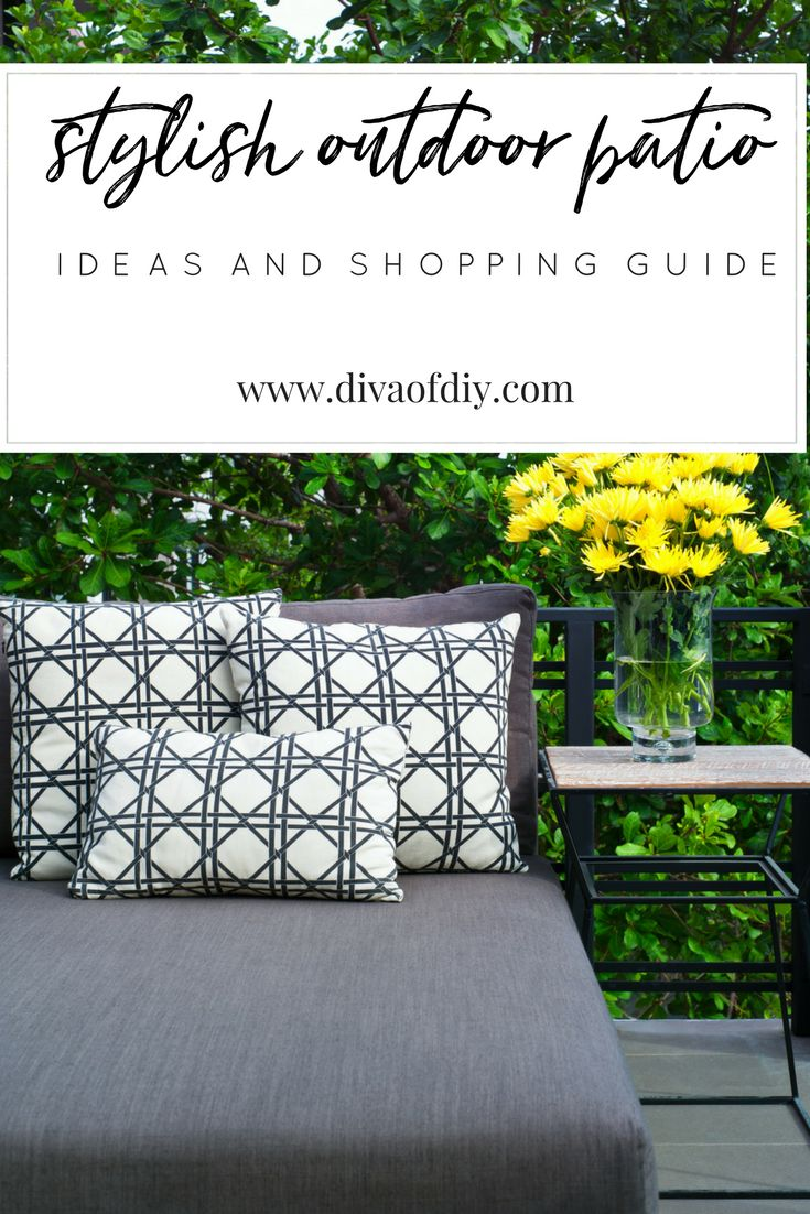 How to create a stylish outdoor patio. From patio furniture to storage solutions, everything you need for your summer parties.  http://divaofdiy.com/outdoor-patio-guide/?utm_campaign=coschedule&utm_source=pinterest&utm_medium=Diva%20of%20DIY%20%7C%20Tutorials%20For%20Your%20Favorite%20DIY%20Projects&utm_content=How%20to%20Create%20a%20Stylish%20Outdoor%20Patio