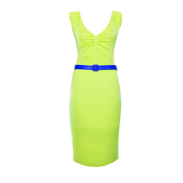 Limetkové pouzdrové šaty Lindy Bop Pam