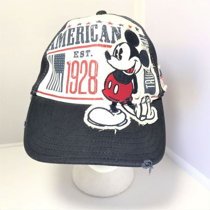 Disneyland Resort American Mickey Mouse Est 1928 Navy Blue Fitted Baseball Cap #DisneylandResort