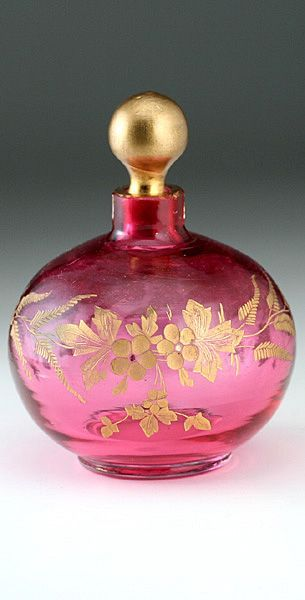 Charming Globular Cranberry Scent Bottle With A Gilt Ball Stopper, Delicately Engraved With A Leafy Floral Band And Infilled With Gilt   c.1900  -  sellingantiques.co.uk