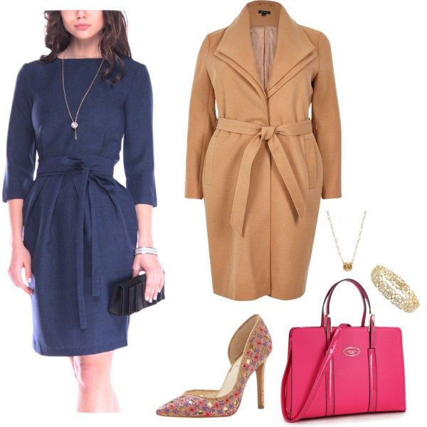A beautiful blue wrapped dress, pumps, and pink tote bag that is sure to make any plus size woman feel like a boss at the office. Items by Jessica Simpson, River Island, and more!